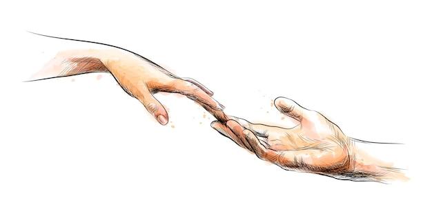 Mani commoventi di schizzo colorato da una spruzzata dell'acquerello