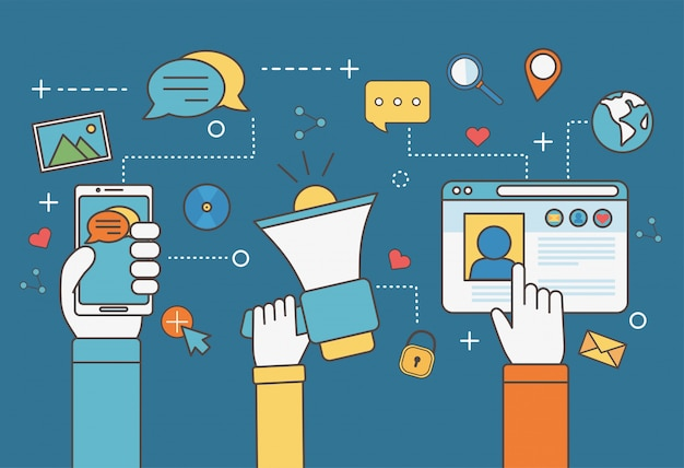 Mani con altoparlante smartphone e sito web chat mondo e-mail social media