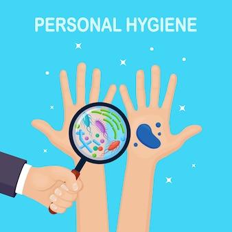 Mani con batteri, microbi, virus, germi e lenti d'ingrandimento. igiene personale.
