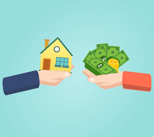 Mani con borsa della casa e dei soldi