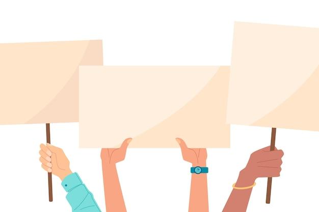 Mani con cartelli su sfondo bianco