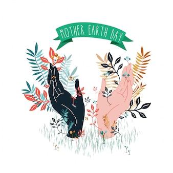 Mani con foglie illustrazione