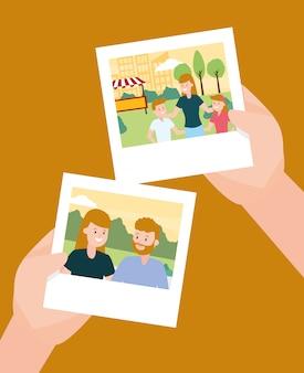 Mani con foto nel giorno della famiglia