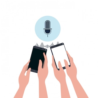 Mani con smartphone e assistente vocale