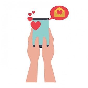 Mani con smartphone e cuori icona isolata