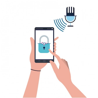 Mani con smartphone e icona lucchetto