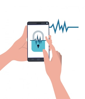 Mani con smartphone e lucchetto