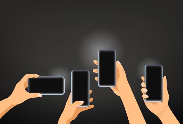 Mani con smartphone moderni. scattare foto