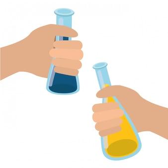 Mani con strumenti di laboratorio isolati
