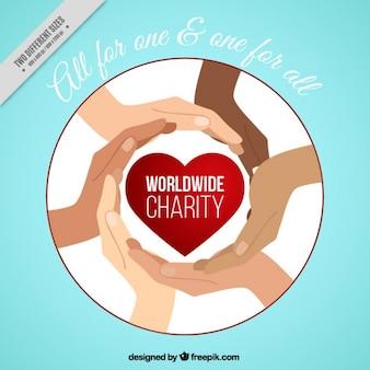 Mani con un cuore rosso di sfondo di carità