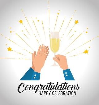 Mani degli uomini con champagne per la celebrazione dell'evento