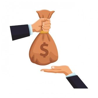 Mani degli uomini d'affari con la borsa dei soldi