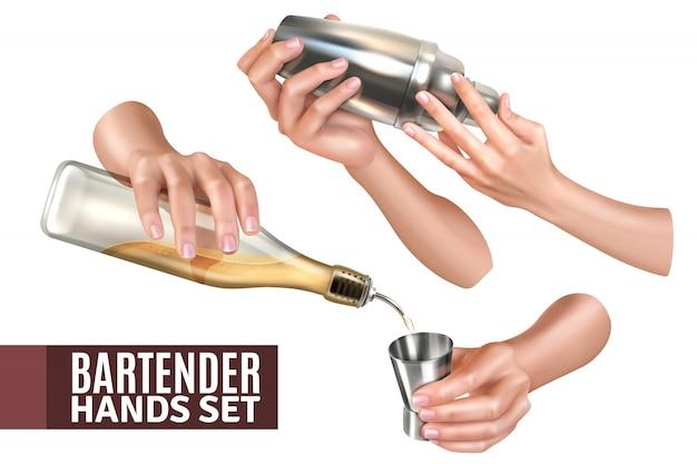 Mani del barista che versano e che mescolano l'insieme realistico dei cocktail isolato su bianco