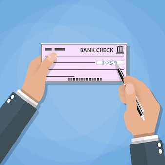 Mani dell'uomo con il controllo di scrittura della penna. pagamenti bancari