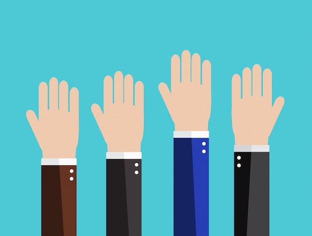 Mani dell'uomo d'affari alzate. concetto di voto