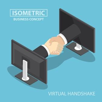Mani dell'uomo d'affari che raggiungono fuori dallo schermo di monitor