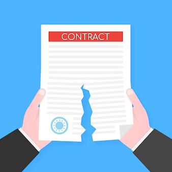 Mani dell'uomo d'affari che strappano il documento contrattuale. .