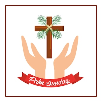 Mani della domenica delle mani di cristo della palma con la croce