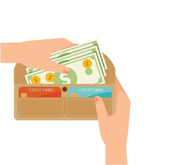 Mani della donna che prelevano i contanti dal portafoglio