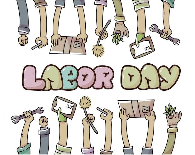 Mani di festa del lavoro dell'illustrazione dei lavoratori