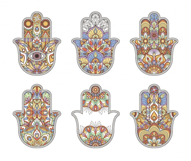 Mani di hamsa disegnate a mano etniche della tailandia
