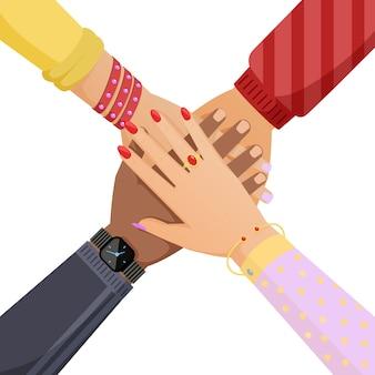 Mani di persone che si mettono l'un l'altro. lavoro di squadra, comunità sociale, concetto di cooperazione dei cartoni animati.