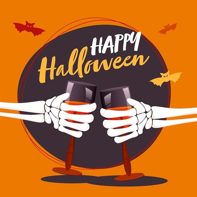Mani di scheletro che tengono bicchiere di vino con pipistrelli che volano su sfondo viola e arancione.