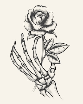 Mani di scheletro con fiore rosa