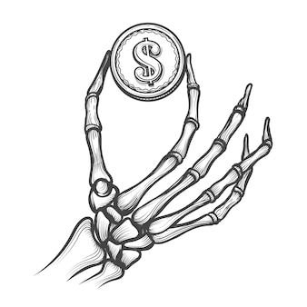 Mani di scheletro con moneta da un dollaro