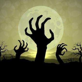 Mani di zombi nella notte di halloween sullo sfondo di luna