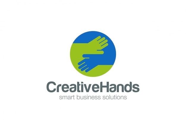 Mani in cerchio icona piana di logo.