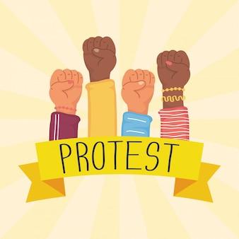 Mani interrazziali umani pugni protestano contro illustrazione