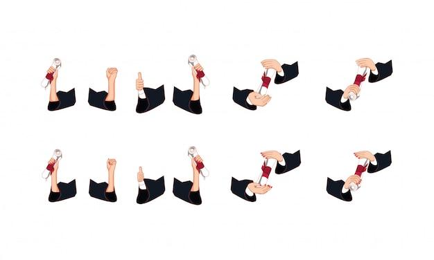 Mani isolate che tengono l'insieme dell'icona dei diplomi di graduazione