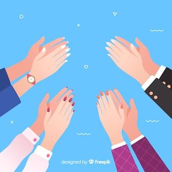 Mani piatte colorate che applaudono
