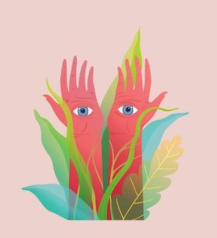 Mani sacre e misteriose orientali esoteriche con occhi che guardano. disegnato a mano