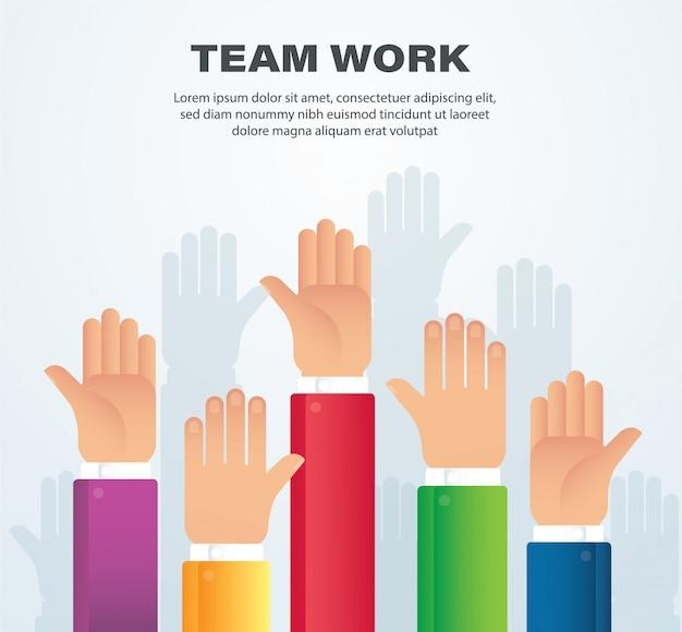 Mani sollevate concetto di lavoro di squadra