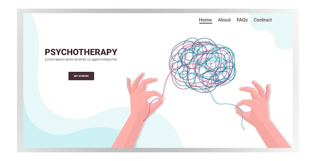 Mani umane che risolvono il problema nel trattamento della sessione di psicoterapia del cervello aggrovigliato delle dipendenze da stress e dei problemi mentali