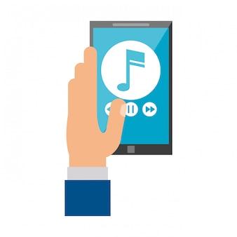 Mani usando il lettore musicale per smartphone