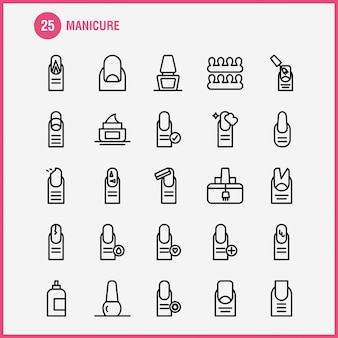 Manicure line icon pack