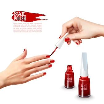 Manicure nail polish hands realistic poster