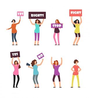 Manifestanti di donne dei cartoni animati, femminismo, diritti delle donne e concetto di protesta