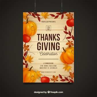 Manifesti del giorno del ringraziamento in stile vintage