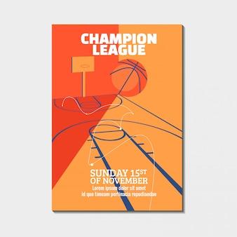 Manifesti del torneo di basket moderno, volantino con palla da basket