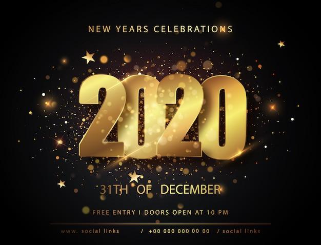 Manifesti di natale e capodanno con numeri 2020. . inviti per le vacanze invernali con decorazioni geometriche