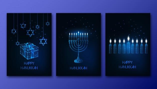 Manifesti futuristici incandescenti poligonali hanukkah con menorah, candele, confezione regalo e stella di david