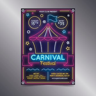 Manifesto al neon festa di carnevale con circo