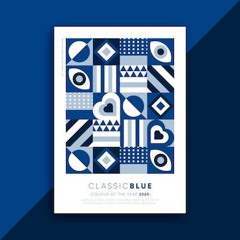 Manifesto astratto con forme diverse blu