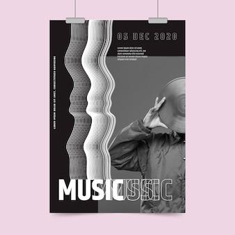 Manifesto astratto del partito di musica con la foto