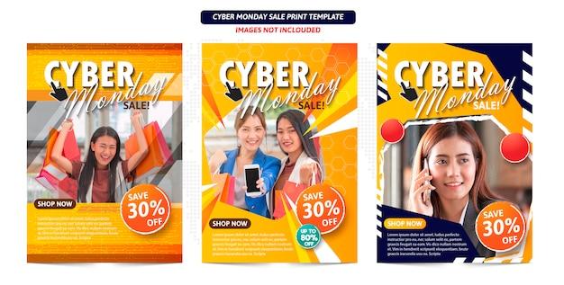 Manifesto astratto di cyber lunedì pronto per la stampa.