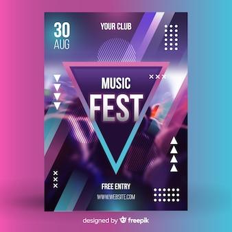 Manifesto astratto di festival di musica con la foto